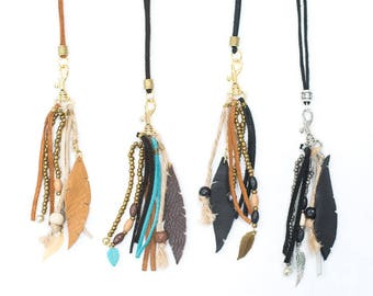 Boho Long Tassel Necklace - Leather Tassel with Beads - Suede Necklace - Leather and Beads Tassel - Gold Silver Turquoise Brown Tan Black