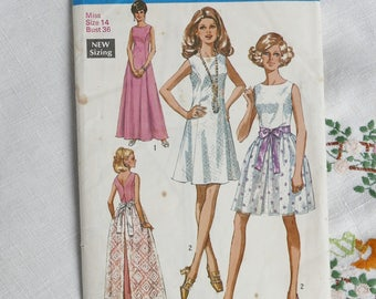 Vintage dress pattern, Simplicity 3641, dress in two lengths with overskirt, 1970, size bust 36 inches