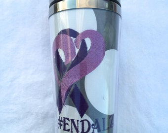 Monogrammed Personalized Polka Dot #EndAlz Alzheimers Awareness Insulated Photo Insertable Tumbler Mug Hot and Cold Teacher Gift