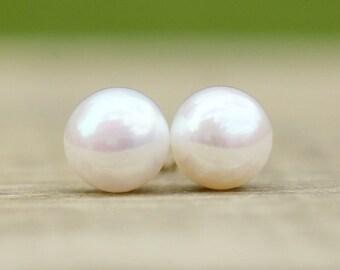 Pearl Earrings, Freshwater Pearl Earrings, White Pearl Stud Earrings, Pearl Studs, Real Pearl Earrings, Bridesmaid Gift, Bridesmaid Jewelry