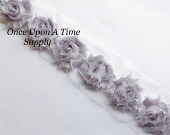 PETITE Gray Shabby Rose Trim - Shabby Chiffon Rosettes - 1/2 Yard or 1 Yard - Hairbow Making Supplies