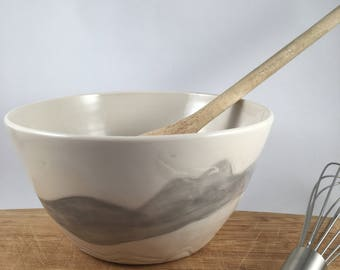 Modern porcelain serving bowl, medium size, handmade