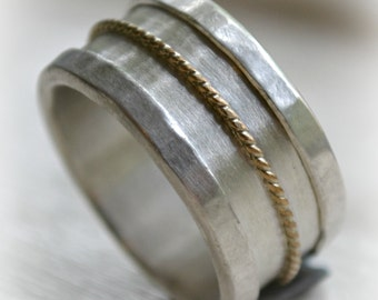 mens wedding band - handmade artisan designed fine silver, sterling silver and 14K yellow gold filled rope - mens wedding band - custom