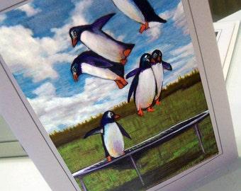 greeting card print of drawing  bouncing penguins