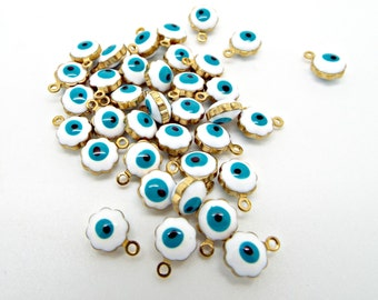 20/50 Evil Eye Charms, Enamel Eye Charms, 9mm Metal Charms, Double Sided, Gold Tone Brass, Tiny Charms, Blue Eyes, Jewelry Charm, UK Seller