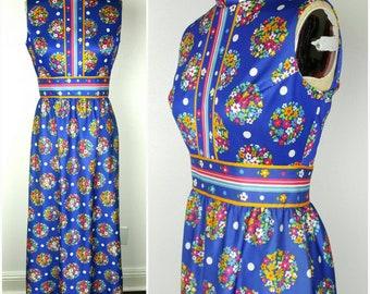 Yves Jennet Bright Blue Maxi Dress - Petite Medium