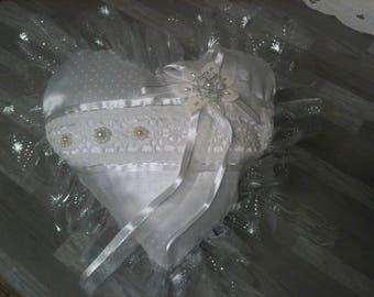 wedding heart veil/cushion alliance/Pearl White/white/white/ribbon lace ring pillow white/white wedding ring cushion