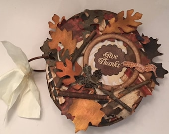 Fall Leaf Round Chipboard album