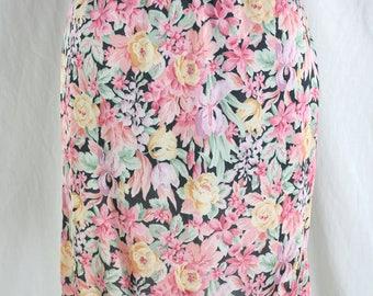 Vintage Floral Half Slip Pink and Black Bestform Size Small