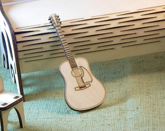 Miniature wooden guitar-magnet Gift to student at music college at the prom Magnet-guitar for notes on the refrigerator Laser cutting made