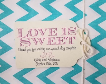 Wedding Gift Tags - Love Is Sweet - Bridal Shower Favor Tags - Customizable Personalized - Index Off White (WT1815)
