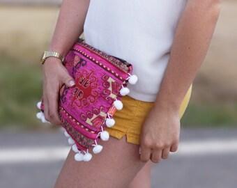 Pochette à main boho, pochette hippie chic, sac bohème, grande pochette ethnique, sac soirée, cadeau femme, tribal, jacquard, tendance