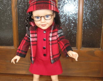 dress, jacket and hat doll 46cm