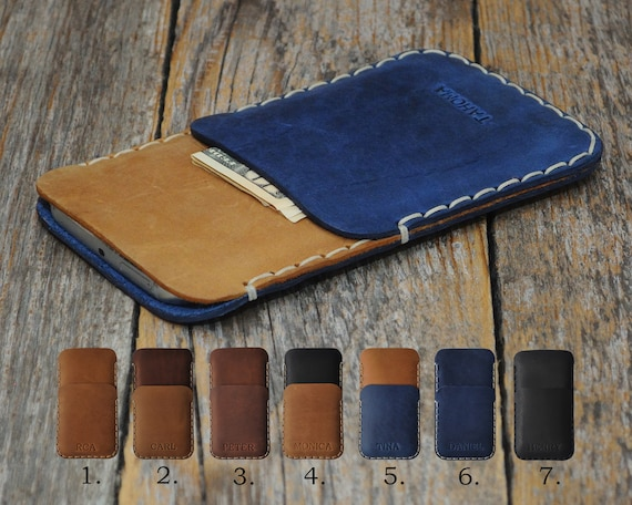 HP Elite x3 Cover Leather Wallet Case PERSONALIZED Gift ENGRAVED Sleeve Rough Vintage Style Pouch Custom Size