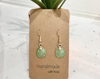 Green & Gold Glitter Seashell Hook/ Dangly Earrings