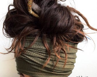 Headband / Head Tube / Dread Sock / Loc Wrap / Dreadband   Long Headband, Dreadlocks, Updo, Outdoor, Yoga, Cycling, Run, Eco Friendly