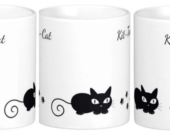 Cat Mug With Black Cats, Kit Tea Cat, Great For Gifts For The Cat Lover