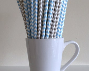 Blue and Gray Chevron Paper Straws Light Blue and Grey Party Supplies Party Decor Bar Cart Cake Pop Sticks  Party Graduation