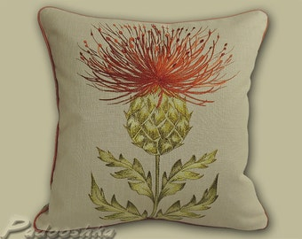 "Orange thistle throw pillow cover Scottish cushion case 16.5"" Munro Rust Terracotta flowers Highland decor Fabric from Voyage Decoration"
