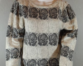Vintage Rose print and Pearl Snap 80's sweater hipster sweater Silk blend sweater