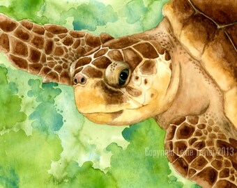 Loggerhead sea turtle giclee print