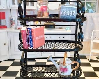 SALE Miniature Black Metal Baker's Rack, Dollhouse Miniature Furniture, 1:12 Scale , Dollhouse Kitchen Decor, Miniature Shelf, Metal Shelves