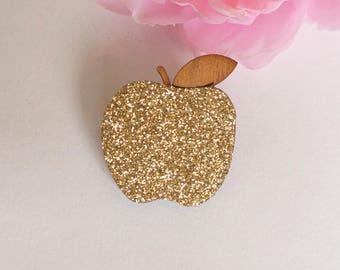 Wood glitter Apple brooch