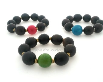 African Tribal Bracelet - Ethnic Bracelet - Wood Bracelet - Bold Bracelet - Black Bracelet - Stretch Bracelet - mothers day gift