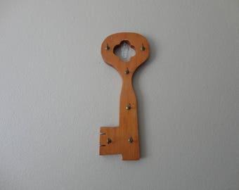 VINTAGE handmade wood skeleton key style KEY HOOKS