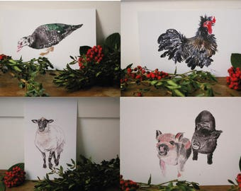 Mothers day gift / Lot 4 cards drawn animals in watercolor - recycled paper - duck, pigs, sheep and rooster