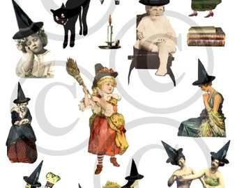 Vintage Halloween College Sheet  Witches, Mermaids, Black cats Clips Art