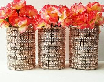 Wedding Centerpiece, Rose Gold Wedding Decor, Gold Decoration, Copper, Metallic Vases, Bridal Shower, Baby Shower Centerpiece, SET OF 3