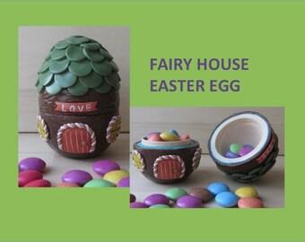 Fairy House Easter Egg, Polymer Clay Filigree Egg, 2 Part Hollow Wood Fillable Easter Egg, Collectible Easter Egg, Pixie House Keepsake Egg