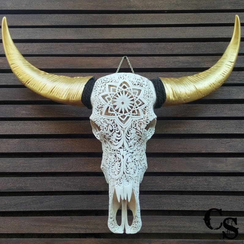 Hand Carved Buffalo Skull Head With Gold Horns Floral Design