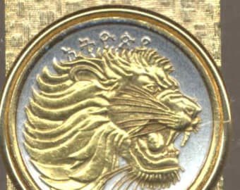 Money clips - Gorgeous 2-Toned Gold on Silver Ethiopia  Lion,  Quarter size Coin - Money clips