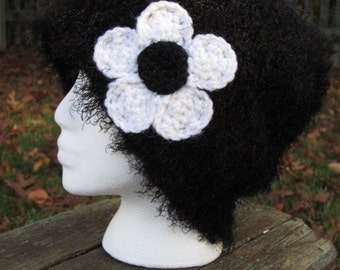 Oversized Fuzzy Black Hand Knit Hat with Sparkly White Crocheted Flower