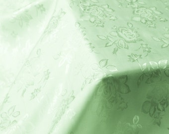 Sage Floral Jacquard Brocade Satin Fabric By the Yard Style 3006