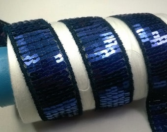 5 meters of Ribbon SEQUINS GLITTER colors Navy width 2.2 cm