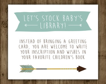 Book Insert Baby Shower. Boy. Arrows. Boho. Blue. Library. Baby