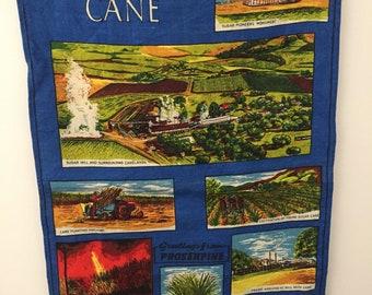 Vintage pure Linen tea towel Australian Sugar Cane
