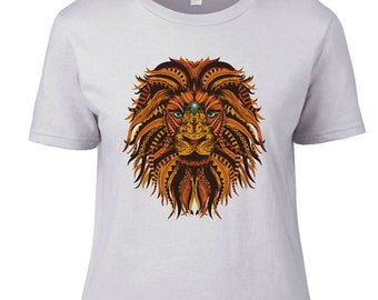 Ladies T-Shirt Lion Print Inspired Exclusive Design T-Shirt Women's
