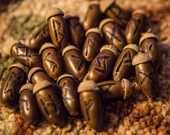 Natural Acorn Elder Futhark Runes, Divination, Pagan, Wicca, Tarot, Asatru, Viking, magic
