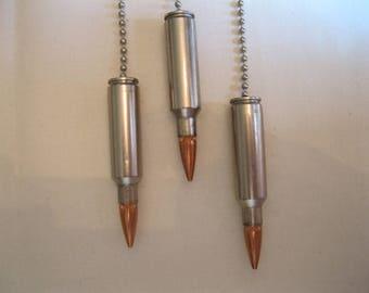 3 Bullet Light Pulls, Nickel Rifle Ceiling Fan Pulls