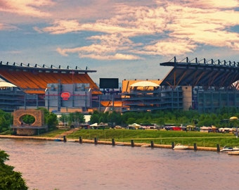 Pittsburgh Steelers, Heinz Field, Man Cave, Steeler Nation, Pennsylvania, Football, Stadium, Steelers fan, Large Art Print or Canvas