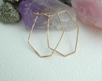 Geometric Hoop Earrings- Silver Hoops- Gold Hoops- Rose Gold Hoops- Geometric Jewellery- Statement Jewellery