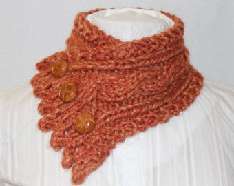 Bulky Knit Cowl, Neck Warmer, Cowl, Fishermans Wife Cowl, Womens Cowl, Fall Scarf, Chunky Knit Cowl, Tangerine