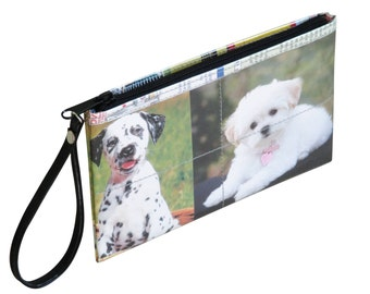 Medium zip wristlet dog lover gift for her, FREE SHIPPING, clutch wallet, clutch zipper Bag, Small Accessory, Wallet purse, women's wallet