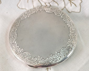 Large Solid Silver Powder Compact Handbag Purse Mirror - Continental Hallmarked 835 - Engine Turned Pattern with Chased Floral Border