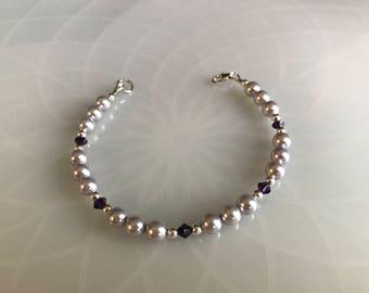 Lavender Swarovski Pearl & Swarovski Crystal Bracelet With Sterling Silver Components