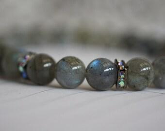 Labradorite Bracelet, Chakra Bracelet,  Yoga Bracelet, Crystal Chakra, Wrist Mala Bracelet Genuine Labradorite Bracelet